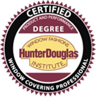 Certified Window Covering Professional from Hunter Douglas Window Fashion Institute