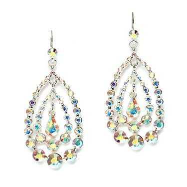 "Beautifully accessorize wedding, pageant or prom dresses with these dramatic 2 1/2"" h Iridescent AB earrings by Mariell! The light dances off these sparkling earrings as the AB stones reflect rainbows of color! These chic earrings have head-turning bling!"