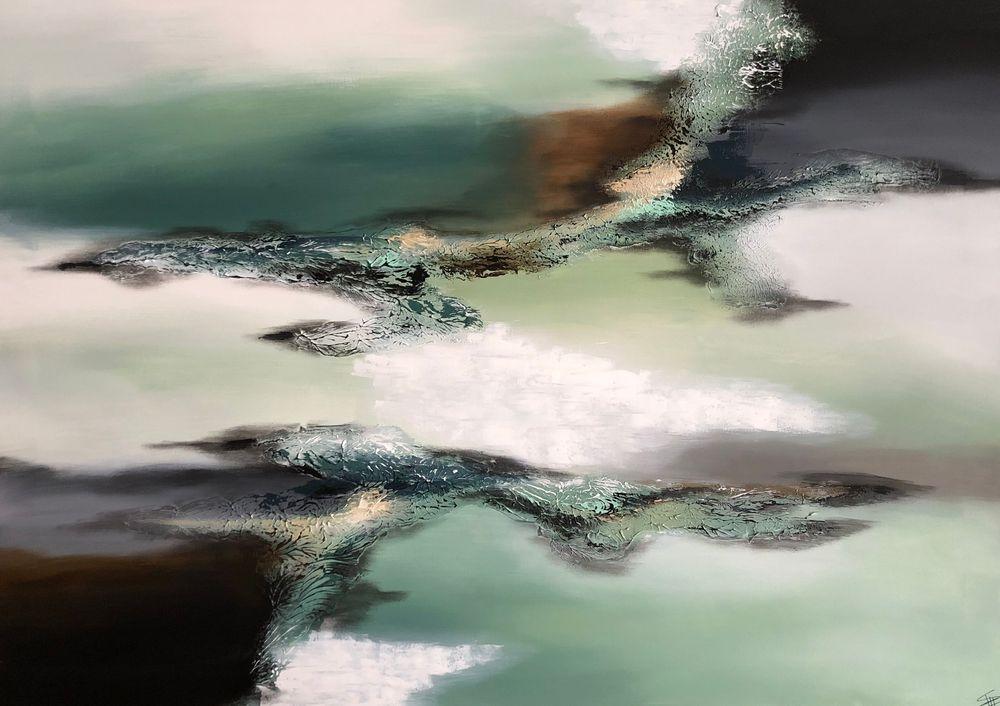 Abstrakte-moderne-malerier-i douchede-farver