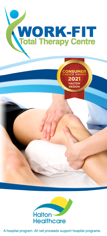 Brochure with Work-Fit logo at the top, the logo of the consumers choice award and a photo of knee treatment