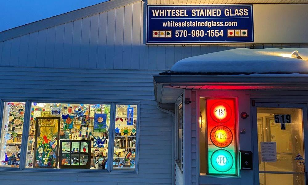 Whitesel Stained Glass Front of building