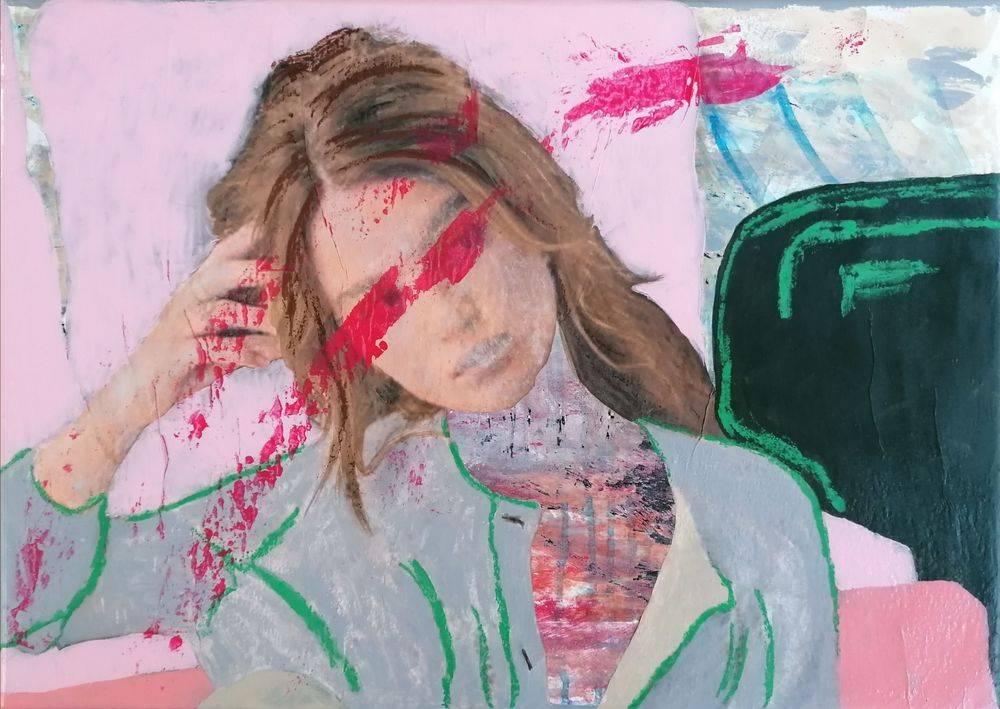 Aquarelle, Acrylique, Peinture, Femme, Portrait, Histoire de l'art
