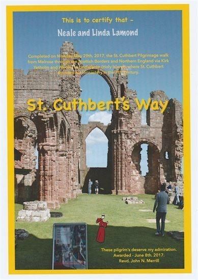 ST CUTHBERT Way CERTIFICATE