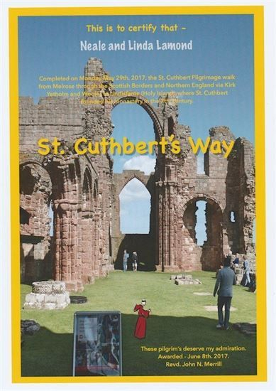 ST CUTHBERT Way CERTIFICATE