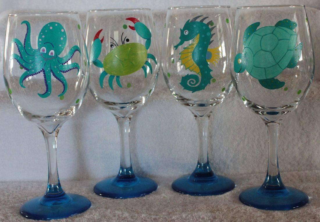 nautical wine glass, octopus wine glass, crab wine glass, seahorse wine glass, turtle wine glass