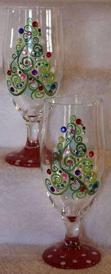 christmas wine glass, tree wine glass
