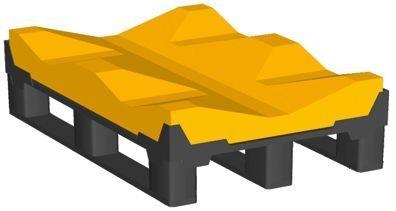 Kufen-Rollenpalette im INDUSTRIE-Format, Deck aus hochfestem Industrieschaum für zwei Rollen