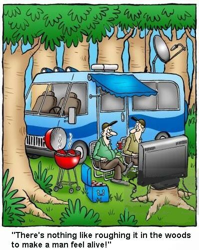 roughing it, RV, RV Park, TV, grill, luxuries, glamping