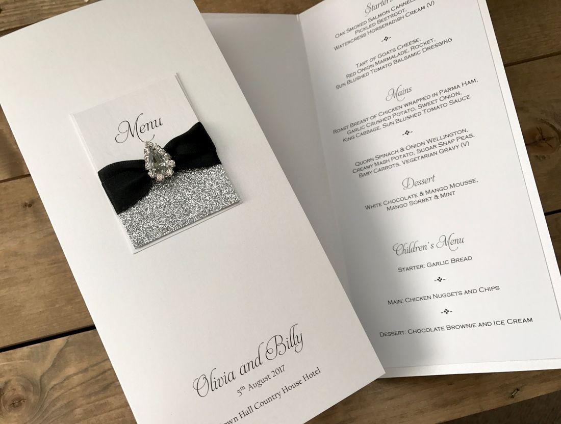 Luxury Menu Card with Diamante