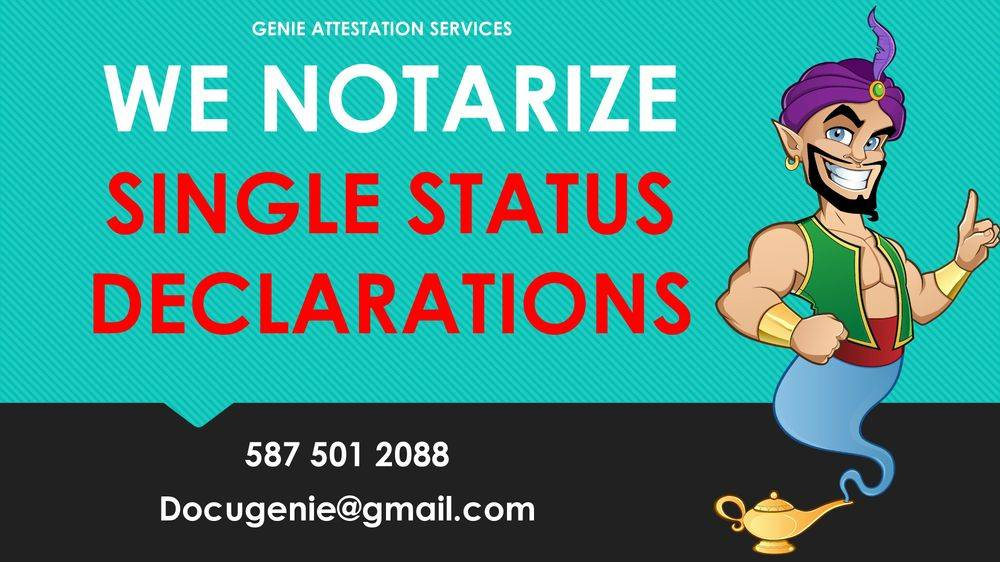 Notary of Single Status Declaration