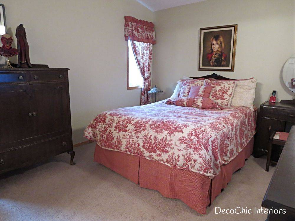 staging winnipeg bedroom french provincial red toile certified staging professional realestate staging expert decochic interiors