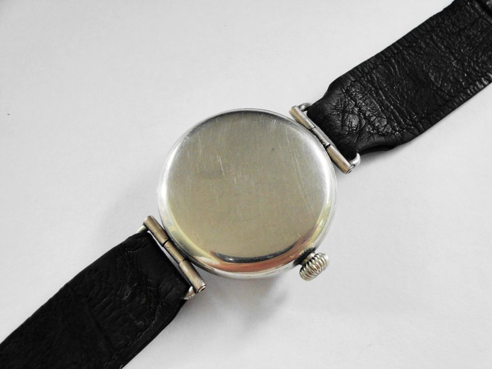 """1917 WWI Waltham """"General Funston"""" Trench Watch, 34mm Nickel IWCCo Case, SWIVEL LUGS, SEMI-HERMETIC, 15 Jewels, Original Factory Crown, BOLD Arabic Enamel Military Dial, Blue Steel Hands and it STILL has the ORIGINAL FACTORY IWCCo LEATHER STRAP"""