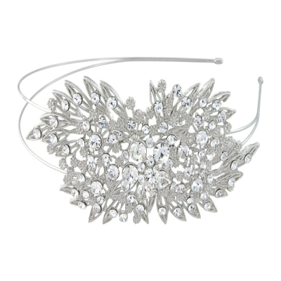 Inspired by vintage headbands and truly stunning with clear crystals on a silver tone finish - design measures approx 13cm long and sits perfectly on a double headband.