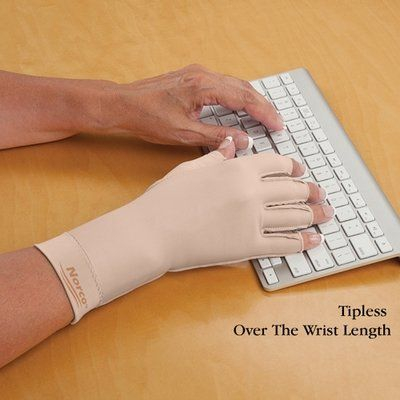 Gentle compression gloves for swollen painful hands