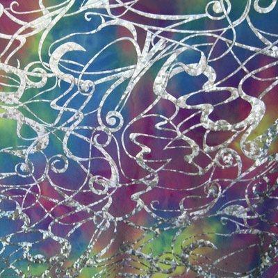 tie dye silver scroll