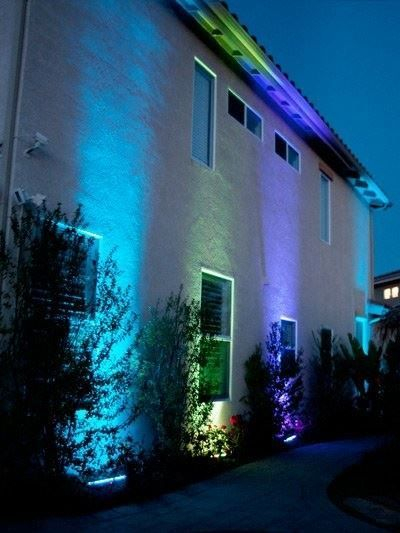 Multicolored Exterior Uplighting design by Atlarge Sound