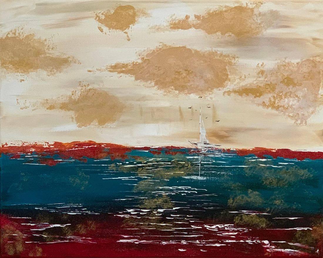 Losing Everything , sailboat, seagulls, Pacific Ocean, Oregon Coast, beach, ocean, cloudy skies, Oregon Artist, Abstract Artist, Local Artist, Hope Angel Fine Art