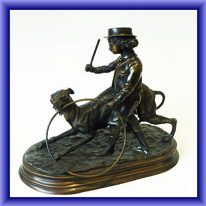 BRONZE of a boy and his dog