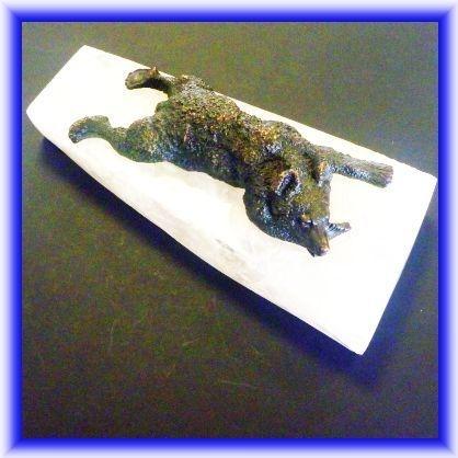 BRONZES, bronze bear on rock crystal