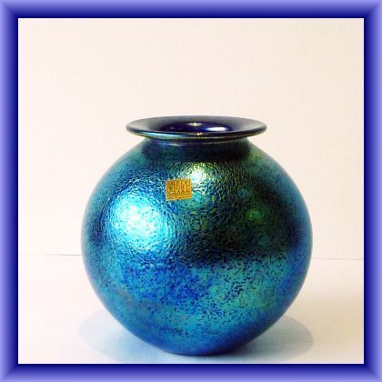 ISLE OF WIGHT STUDIO GLASS  globe vase in a stunning shimmery blue with gold sticker,15cm h x 42cm dia