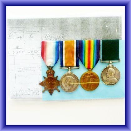 WW1 MEDALS trio plus long service medal-3350 B/D seaman C.C.G.Wright R.N.R
