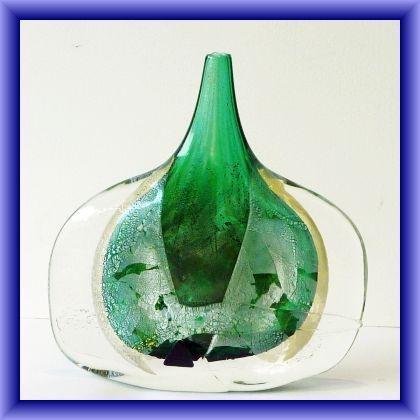IOW studio glass fish vase, Azurene 19.5cm h x 19cm w