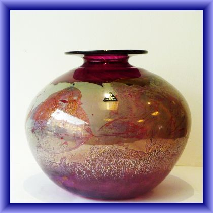 ISLE OF WIGHT GLASS-LARGE Azurene globe vase, signed by M Harris, made for the American market originally, weight 3510kg, 20cm h x 79cm circ