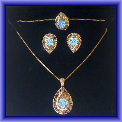 GOLD JEWELLERY,Stunning enamelled set