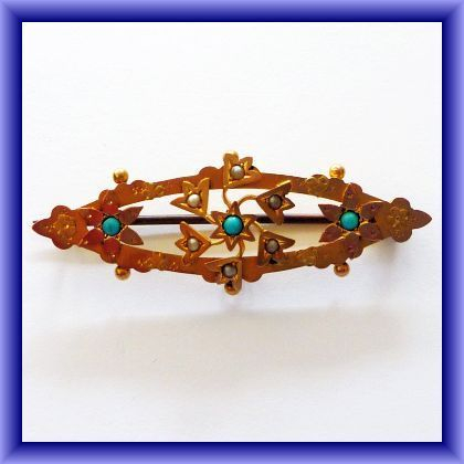 GOLD JEWELLERY-Victorian/Edwardian 9ct seed pearl and turquoise brooch-hallmarked