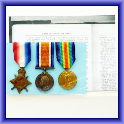 WW1 MEDALS  trio, Skipper.A.Fairbarn M.F.A.