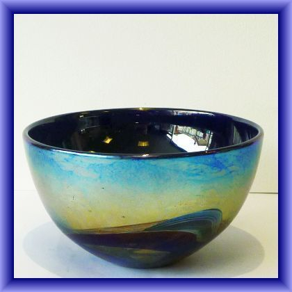 """Nightscape"" Isle of Wight studio glass  bowl ,10cm h x 49cm circumference"