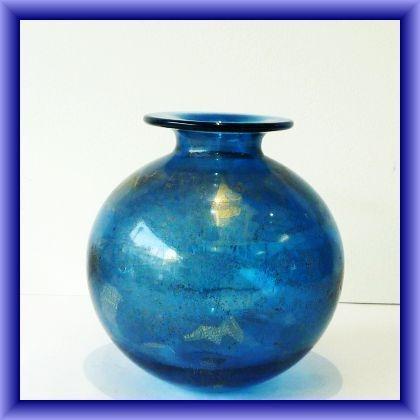"Isle of Wight  studio glass ""Azurene"" globe vase, 15cm h x 44cm circumstance"