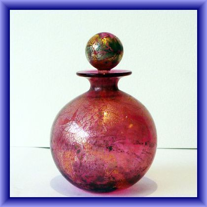 IOW studio glass Azurene perfume bottle with matching stopper, 12cm h x 25.5 circumference
