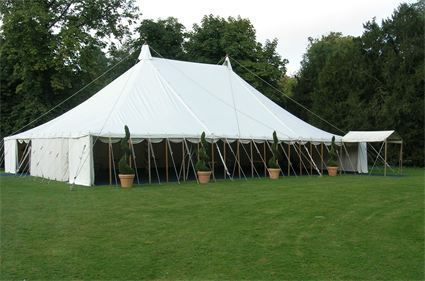Canvas traditional marquee with walls removed