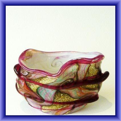 "An Isle of Wight studio glass very unusual ""Gemstone"" vase,  26cm dia"
