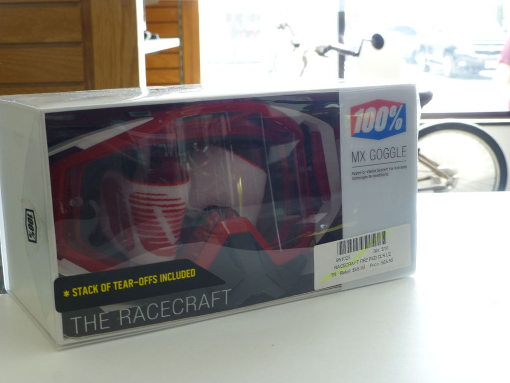 Red and White 100% racecraft goggles in the box