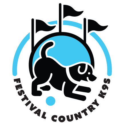 Dog bowing with flags, Festival Country K9s Logo