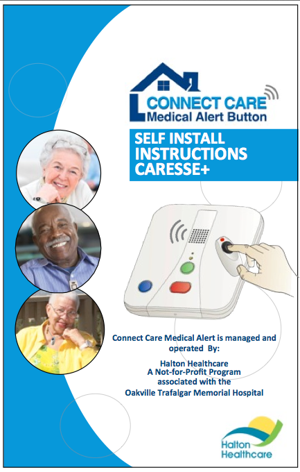Images of seniors wearing the personal help button on the cover of the Caresse+ Self Install Instructions Guide