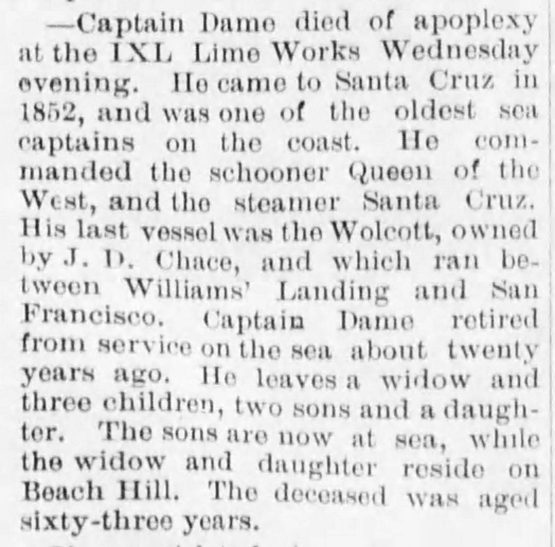 obituary of Captain Timothy Dame, 1886