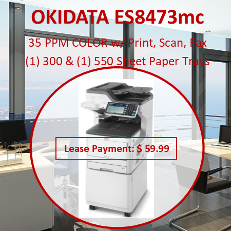 """The ES8473 MFP from OKI combines color printing and copying, color/mono scanning with scan-to capabilities, and analog faxing. All in a compact Tabloid/A3 device that fits in just about any environment—so there's no need to sacrifice space for functionality. It's available in three basic configurations: the ES8473 MFP for desktop use, and floor models ES8473c MFP (with convenient storage cabinet) and ES8473x MFP (with two additional paper trays). For fewer user interventions, all three can be outfitted with additional paper tray options. (Note: Converting the desktop ES8473 MFP to a  floor-standing configuration with additional paper trays requires caster base or cabinet.2) This affordable, networked MFP lets you produce professional documents with productivityboosting speeds. It delivers up to 35 prints or copies per minute—with a time-to-first-page as fast as 9.5 seconds.1 The ES8473 MFP prints  on Tabloid (11"""" x 17"""")/A3 (11.69"""" x 16.53"""") sheets and banners up to 11.7 x 52"""", and can handle heavy stock up to 256 gsm—so you can save on outsourced print and copy costs. Duplex (2-sided) printing/copying comes standard with this MFP, as does a convenience stapler, a job separator/2nd output bin, 1.25 GB of memory, and a 250 GB hard disk drive."""
