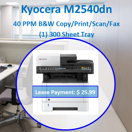 The ECOSYS M2540dw combines exceptional print quality with advanced features in a monochrome multifunctional printer designed for the budget conscious business. Easily copy, print, scan and fax from a device that offers reliability, low TCO and ECOSYS long life consumables. Workgroups can easily drive their business from anywhere, with wireless functionality and On-The-Go printing/scanning capabilities. Add to this print speeds up to 42 ppm, advanced security features, and convenient walk-up USB accessibility, and you'll see why the ECOSYS M2540dw can affordably take your business processes to the next level. > Black and White Business Output up to 42 Pages per Minute > 5 Line LCD Screen with Hard Key Control Panel > Up to Fine 1200 dpi Print Resolution > Standard 50 Sheet Dual Scan Document Processor > Standard Wireless and Wi-Fi Direct Capability > KYOCERA Mobile Print, Apple AirPrint®, Google Cloud Print™ and Mopria® > Upgradable Memory for Additional Processing Power > Up to 850 Sheets Paper Capacity