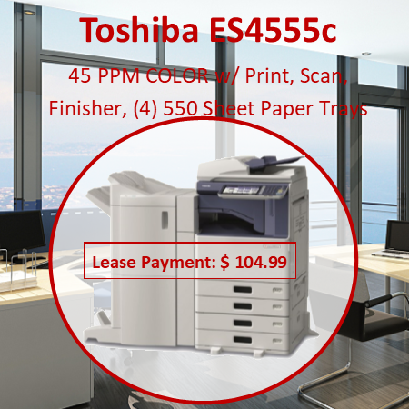 "Copying Process  Indirect Electrostatic Photographic Transfer System  with Internal Transfer Belt Copying Type  LED Head Printing Copy/Print Resolution  600 x 1200 dpi (PS Driver) Copy/Print Speed  45/45, 50/50 PPM Color/B&W Warm-Up Time  Approx. 27 Seconds First Copy Out Time  6.1/4.7 Seconds Color/B&W Duty Cycle  75.6K/84K Copies Multiple Copying  Up to 999 Copies Acceptable Paper Size  Cassette: ST-R to LD (16 lb Bond - 140 lb Index) and Weight  Bypass:  3.9"" x 5.8"" to LD  (14 lb Bond - 100 lb Cover) ST-R to 12"" x 14"" Banner (17 lb-100 lb) PFP: ST-R to LD (16 lb Bond - 140 lb Index) LCF: LT (17 lb - 28 lb Bond) Memory (Max)  Main Memory: 2 GB HD: 160 GB (Security SED Drive) Reduction/Enlargement  25% to 400% Bypass  100-Sheet ""Smart"" Bypass (14 lb Bond - 100 lb Cover) Control Panel  Color 9"" LCD Touch Panel Paper Supply  Up to 3,200-Sheet Input Capacity Standard 2 x 550-Sheet Cassettes 100-Sheet Bypass 1 x 550-Sheet PFP (3rd Cassette),   1 x 550-Sheet Cassette (4th Cassette) for PFP Optional 1 x 2,000-Sheet LCF Duplex  Standard Automatic Duplex Unit (16 lb Bond - 140 lb Index) Dimensions  Approx. 23"" x 25.3"" x 31        "" (W x D x H) Weight Approx. 166.4 lbs. CMYK Toner Yield CMY: 26.8K, BK: 34.2K Power Supply  120 V, 15 Amps Power Consumption  Maximum 1.5 kW PDL Support  PCL6 and PostScript 3, XPS Operating Systems  N etware 6.5, Windows XP, Vista, 7, Windows Server 2003, 2008, 2008R2, Citrix MetaFrame, Macintosh, Linux, UNIX, AS400, SAP Protocol Support   IPX/SPX, TCP/IP, AppleTalk, NetBIOS Over TCP/IP, LPR/LPD, IPP, SMB, SNMP, Netware, Port 9100 Drivers   Server 2003/2008/2008R2/2012, Windows XP, Vista, 7/8, Macintosh 10.2/10.3, 10.4, 10.5, 10.6, 10.7, AS400 LPR & Port 9100, SAP R/3, Unix Filter Connectivity  10/100/1000BaseTX Ethernet, 802.11b/g/n Device Management  TopAccess  Windows (Vista, 7, 2008, 2008R2, 2012) (WHQL) Novell, HPOS (Dazel), Citrix Scan Resolution  100 dpi, 150 dpi, 200dpi, 300 dpi, 400 dpi, 600 dpi Scan Speed  73 SPM Color/73 SPM B&W (@ 300 dpi) File Format  TIFF, PDF, Secure PDF, JPEG, XPS (with HDD) Compatibility  Super G3 Data Compression  MH / MR / MMR /JBIG Transmission Speed  Approx. 3 Seconds Per Page Fax Modem Speed  33.6 Kbps Memory Transmission  100 Jobs (with HDD), 2,000 Destinations Max. 400 Destinations /Job Scan Speed  .7 Seconds Per Page, Maximum 73 SPM Operation Method  Color Touch Screen Control Panel or Client PC Number of Boxes  1 Public Box, 200 Private User Boxes Capacity of Boxes  100 Folders Per Box, 400 Documents Per Folder 200 Pages Per Documen"