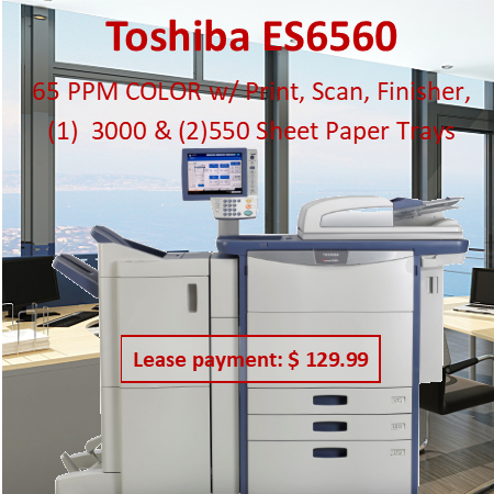 """Color MFP Up to 65 PPM Color Up to 75 PPM B&W Med/Large Workgroup Copy, Print, Scan, Fax Secure MFP EPEAT Registered* Specifications Copying Process 4-Drum Electrostatic Photographic Transfer System with Internal Transfer Belt Copying Type  4-Beam Color Laser (8 bit) Copy/Print Resolution  600 x 600 dpi/1200 x 1200 dpi Copy/Print Speed  e-STUDIO5560c – 55 PPM Color / 55 PPM B&W e-STUDIO6560c – 65 PPM Color / 65 PPM B&W e-STUDIO6570c – 65 PPM Color / 75 PPM B&W Warm-Up Time  Approx. 180 Seconds First Copy Out Time  e-STUDIO5560c–6.5 Seconds Color / 5.3 Seconds B&W e-STUDIO6560c – 6.5 Seconds Color / 5.3 Seconds B&W e-STUDIO6570c – 6.5 Seconds Color / 4.6 Seconds B&W Duty Cycle  225K / 250K / 275K Copies Multiple Copying  Up to 9999 Copies Acceptable Paper Size  Cassette: ST-R to 12"""" x 18"""" (17 lb Bond - 140 lb Index) and Weight  Bypass:  ST-R to 13"""" x 19""""  (17 lb Bond - 110 lb Cover) ST-R to 12"""" x 47"""" Banner (17 lb Bond - 110 lb Cover) LCF: LT (17 lb Bond - 140 lb Index) Memory Page + Main Memory: 2GB  HD: 320GB FIPS 140-2 SED Reduction/Enlargement  25% to 400% Bypass  100-Sheet Bypass (17 lb Bond - 110 lb Cover) Control Panel  10.4"""" Color Super SVGA Tiltable LCD Touch Panel Paper Supply  Up to 6,000-Sheet Input Capacity (Tandem Version + LCF) 4 Drawer Version: 4 x 540-Sheet Cassettes (2,160 Sheets) Tandem Version: 2 x 540-Sheet Casettes + 2,320-Sheet LCF 100-Sheet Bypass Optional 1 x 2,500-Sheet LCF Duplex  Standard Automatic Duplex Unit (17 lb Bond - 140 lb Index) Dimensions  Approx. 38.6"""" x 27.5"""" x 60           """" (W x D x H) Weight Approx. 573 lb CMYK Toner Yield  CMY: 29.5K, K: 77.4K Power Supply  120 V, 20 Amps Power Consumption  Maximum 2.2 kW"""