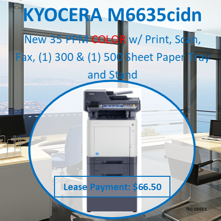 Up to 35 pages per minute in A4 in colour and b/w. High speed controller with 1 GHz CPU and 1 GB memory. High speed scan with up to 60ipm via 75-sheet reversing document processor. Double-sided print, copy, scan and fax functionality as standard. 7-inch full-colour touch panel with home screen provides ease of use.