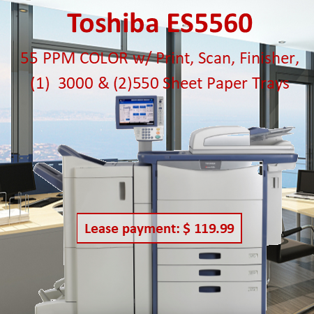 """Color MFP Up to 55 PPM Color Up to 55 PPM B&W Med/Large Workgroup Copy, Print, Scan, Fax Secure MFP EPEAT Registered* Specifications Copying Process 4-Drum Electrostatic Photographic Transfer System with Internal Transfer Belt Copying Type  4-Beam Color Laser (8 bit) Copy/Print Resolution  600 x 600 dpi/1200 x 1200 dpi Copy/Print Speed  e-STUDIO5560c – 55 PPM Color / 55 PPM B&W e-STUDIO6560c – 65 PPM Color / 65 PPM B&W e-STUDIO6570c – 65 PPM Color / 75 PPM B&W Warm-Up Time  Approx. 180 Seconds First Copy Out Time  e-STUDIO5560c–6.5 Seconds Color / 5.3 Seconds B&W e-STUDIO6560c – 6.5 Seconds Color / 5.3 Seconds B&W e-STUDIO6570c – 6.5 Seconds Color / 4.6 Seconds B&W Duty Cycle  225K / 250K / 275K Copies Multiple Copying  Up to 9999 Copies Acceptable Paper Size  Cassette: ST-R to 12"""" x 18"""" (17 lb Bond - 140 lb Index) and Weight  Bypass:  ST-R to 13"""" x 19""""  (17 lb Bond - 110 lb Cover) ST-R to 12"""" x 47"""" Banner (17 lb Bond - 110 lb Cover) LCF: LT (17 lb Bond - 140 lb Index) Memory Page + Main Memory: 2GB  HD: 320GB FIPS 140-2 SED Reduction/Enlargement  25% to 400% Bypass  100-Sheet Bypass (17 lb Bond - 110 lb Cover) Control Panel  10.4"""" Color Super SVGA Tiltable LCD Touch Panel Paper Supply  Up to 6,000-Sheet Input Capacity (Tandem Version + LCF) 4 Drawer Version: 4 x 540-Sheet Cassettes (2,160 Sheets) Tandem Version: 2 x 540-Sheet Casettes + 2,320-Sheet LCF 100-Sheet Bypass Optional 1 x 2,500-Sheet LCF Duplex  Standard Automatic Duplex Unit (17 lb Bond - 140 lb Index) Dimensions  Approx. 38.6"""" x 27.5"""" x 60           """" (W x D x H) Weight Approx. 573 lb CMYK Toner Yield  CMY: 29.5K, K: 77.4K Power Supply  120 V, 20 Amps Power Consumption  Maximum 2.2 kW"""