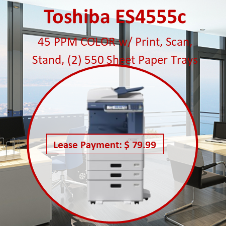 """Copying Process  Indirect Electrostatic Photographic Transfer System  with Internal Transfer Belt Copying Type  LED Head Printing Copy/Print Resolution  600 x 1200 dpi (PS Driver) Copy/Print Speed  45/45, 50/50 PPM Color/B&W Warm-Up Time  Approx. 27 Seconds First Copy Out Time  6.1/4.7 Seconds Color/B&W Duty Cycle  75.6K/84K Copies Multiple Copying  Up to 999 Copies Acceptable Paper Size  Cassette: ST-R to LD (16 lb Bond - 140 lb Index) and Weight  Bypass:  3.9"""" x 5.8"""" to LD  (14 lb Bond - 100 lb Cover) ST-R to 12"""" x 14"""" Banner (17 lb-100 lb) PFP: ST-R to LD (16 lb Bond - 140 lb Index) LCF: LT (17 lb - 28 lb Bond) Memory (Max)  Main Memory: 2 GB HD: 160 GB (Security SED Drive) Reduction/Enlargement  25% to 400% Bypass  100-Sheet """"Smart"""" Bypass (14 lb Bond - 100 lb Cover) Control Panel  Color 9"""" LCD Touch Panel Paper Supply  Up to 3,200-Sheet Input Capacity Standard 2 x 550-Sheet Cassettes 100-Sheet Bypass 1 x 550-Sheet PFP (3rd Cassette),   1 x 550-Sheet Cassette (4th Cassette) for PFP Optional 1 x 2,000-Sheet LCF Duplex  Standard Automatic Duplex Unit (16 lb Bond - 140 lb Index) Dimensions  Approx. 23"""" x 25.3"""" x 31        """" (W x D x H) Weight Approx. 166.4 lbs. CMYK Toner Yield CMY: 26.8K, BK: 34.2K Power Supply  120 V, 15 Amps Power Consumption  Maximum 1.5 kW PDL Support  PCL6 and PostScript 3, XPS Operating Systems  N etware 6.5, Windows XP, Vista, 7, Windows Server 2003, 2008, 2008R2, Citrix MetaFrame, Macintosh, Linux, UNIX, AS400, SAP Protocol Support   IPX/SPX, TCP/IP, AppleTalk, NetBIOS Over TCP/IP, LPR/LPD, IPP, SMB, SNMP, Netware, Port 9100 Drivers   Server 2003/2008/2008R2/2012, Windows XP, Vista, 7/8, Macintosh 10.2/10.3, 10.4, 10.5, 10.6, 10.7, AS400 LPR & Port 9100, SAP R/3, Unix Filter Connectivity  10/100/1000BaseTX Ethernet, 802.11b/g/n Device Management  TopAccess  Windows (Vista, 7, 2008, 2008R2, 2012) (WHQL) Novell, HPOS (Dazel), Citrix Scan Resolution  100 dpi, 150 dpi, 200dpi, 300 dpi, 400 dpi, 600 dpi Scan Speed  73 SPM Color/73 SPM B&W (@ 30"""
