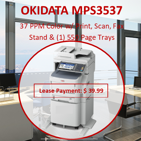 The OKI® MPS3537mc+/MPS4242mc+ Series Color MFPs combine high-quality color and four-in-one functionality with speed, reliability and ease of use—superior value from MFPs that have a footprint small enough to fit easily into your environment. They're the perfect solution for the mid-size workgroups in your company. Enhance the productivity of your staff –  These MFPs are fast: the MPS3537mc+ and MPS3537mc+ Wireless print and copy at up to 35 ppm in color and 37 ppm in black & white; MPS4242mc+ Series models print and copy at up to 42 ppm in color and black & white. And the first color page prints as fast as 9 seconds.1 They all have a duplexing/reversing automatic document feeder (RADF) that quickly scans both sides of a document. And, with their robust duty cycle and paper tray options, these durable devices can be relied upon to handle large daily print and copy volumes.
