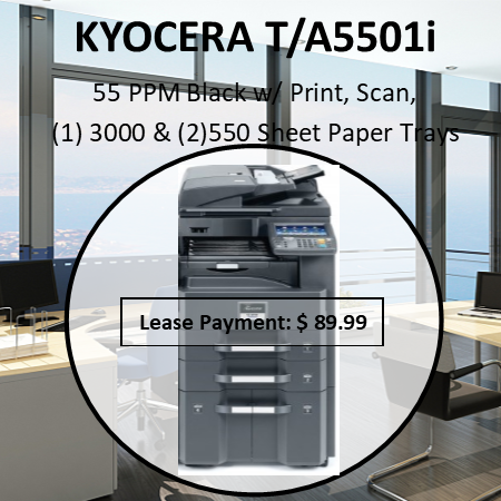 Technology: Kyocera laser mono mfD, HyPas solution platform  Engine speed: tasKalfa 5501i: up to 55/27 ppm a4/a3  tasKalfa 4501i: up to 45/22 ppm a4/a3 tasKalfa 3501i: up to 35/17 ppm a4/a3 Resolution: 600 x 600 dpi, multi-bit technology for print quality of 9,600 dpi equivalent x 600 dpi Warm-up time: approx. 23 seconds or less Time to first page: tasKalfa 5501i: approx. 3.2 sec. or less  tasKalfa 4501i: approx. 3.8 sec. or less  tasKalfa 3501i: approx. 4.7 sec. or less CPU: freescale QoriQ  P1022 (Dual core) 800mHz Memory (std/max): 2 GB Ram + 160 GB HDD max memory increased to 2.5GB when DP-772 installed Standard interface: usB 2.0 (Hi-speed), usB Host 2.0, fast Ethernet 10Base-t/100BasetX/1000Baset, slot for optional print server, slot for optional sD-card, slot for optional fax systems Dimensions (W x D x H): main unit 648 x 767 x 747 mm Weight: main unit approx. 86 kg Power source: ac 220 V ~ 240 V, 50/60 Hz Power consumption:  tasKalfa 5501i: Printing/copying: 890W sleep mode: 8.5W, Energy save mode 1.8W tasKalfa 4501i: Printing/copying: 780W sleep mode: 8.5W, Energy save mode 1.8W tasKalfa 3501i: Printing/copying: 660W sleep mode: 8.4W, Energy save mode 1.8W Safety standards: Gs / tÜV / cE. this unit is manufactured according to iso 9001 quality standard and iso 14001 environmental standard. Reduction of Hazardous substances (RoHs) compliant. for australia & new Zealand: as/nZs3260, c-tick, a-tick / telepermit, international Energy star Program.