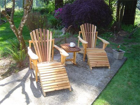 Classic Cedar Adirondacks with matching cedar ottoman and cedar side table photographed in portland, oregon