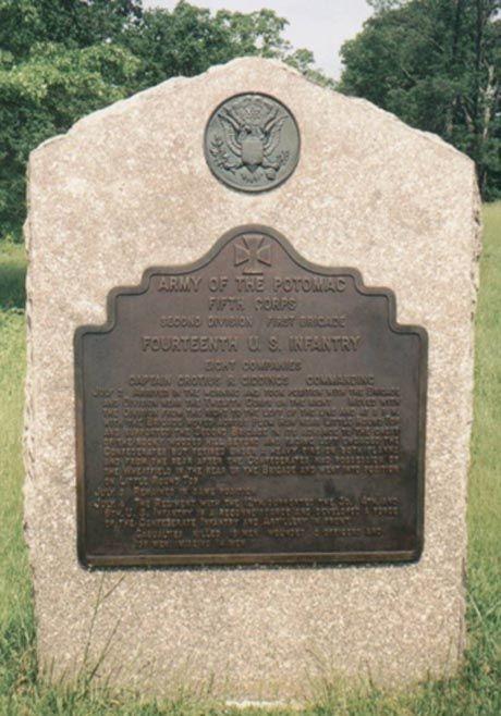 The Regimental Monument for the 14th U.S. Regulars along Ayres Avenue, Houck's Ridge, at Gettysburg.